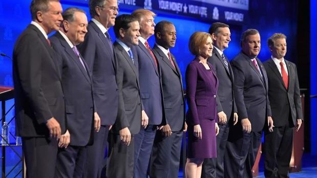 Republican candidates at a 2016 debate