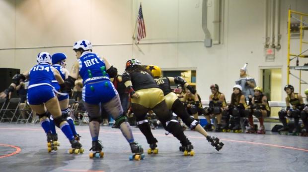 Roller derby in action