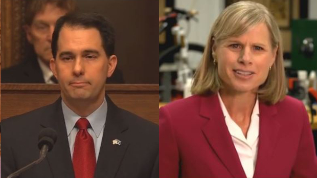 Gov. Scott Walker and Mary Burke