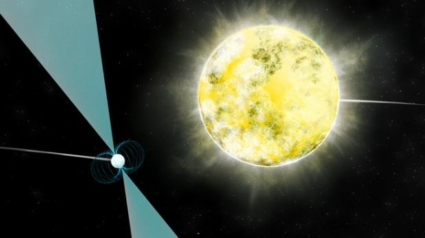 White dwarf star depicted in orbit with pulsar PSR J2222-0137