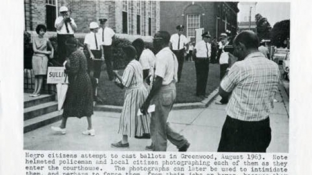 African-Americans attempting to register to vote during the Freedom Summer