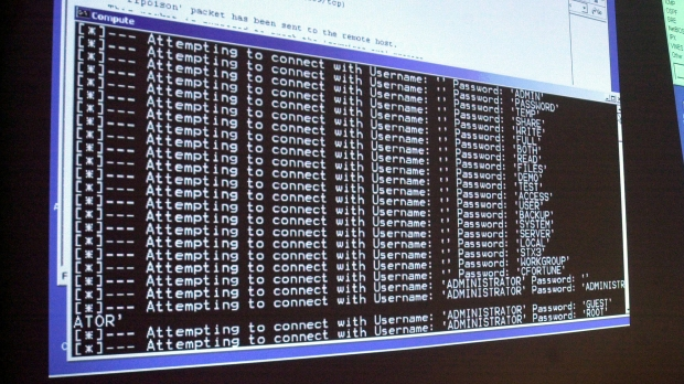 Computer screen showing a password attack in progress