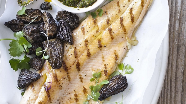 Grilled Lake Trout with a Mess of Morels