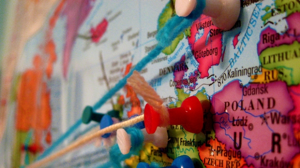 map with pins on it