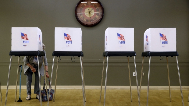 A woman voting