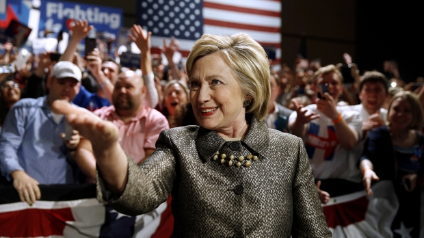 Hillary Clinton at her presidential primary election night rally