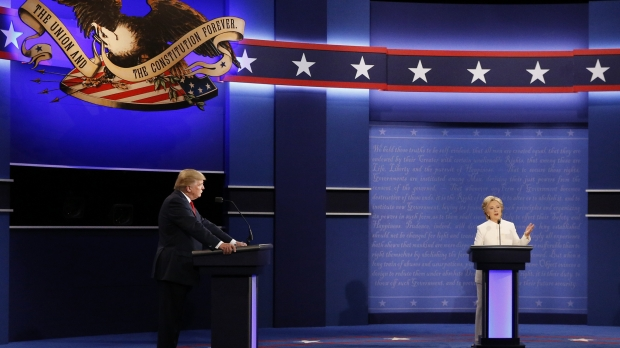 Donald Trump and Hillary Clinton debating