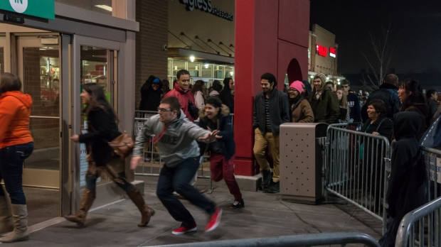 Black Friday shoppers rush into mall