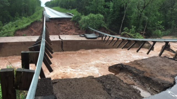 U.S. Highway 2 near Ino has been washed out between