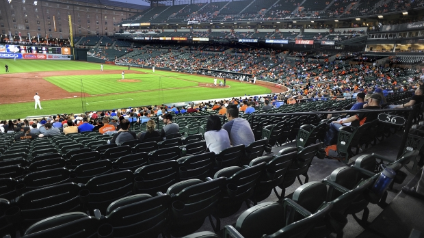 Empty seats fill the stadium at Oriole Park at Camden Yards