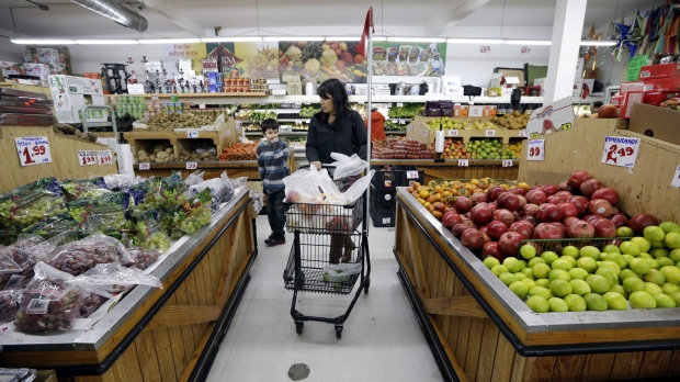 People grocery shopping