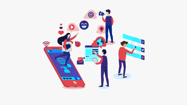 A colorful illustration depicts people connecting over social media, phones and internet.