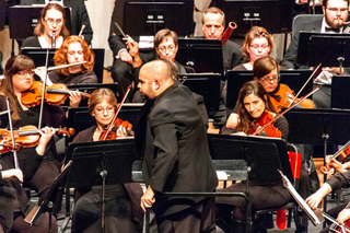 Dr. Andres Moran conducts the Central Wisconsin Symphony Orchestra.