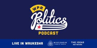 Logo for WPR Politics Podcast written in white and yellow on a blue background