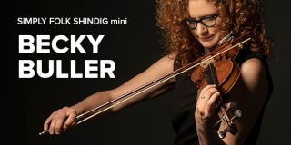 an image of Becky Buller playing fiddle and the words WPR Mini Shindig
