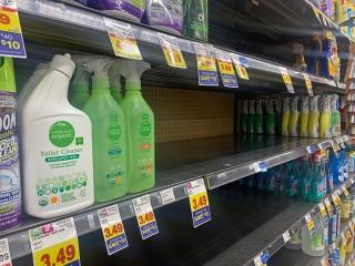 Cleaning supplies shelves at Metro Market on North Van Buren Street in Downtown Milwaukee