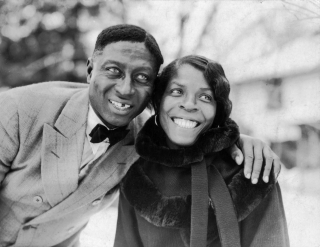 Huddie Ledbetter, better known as Lead Belly (or Leadbelly), with his wife Martha Promise Ledbetter, in Wilton, Connecticut.