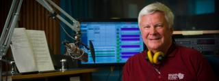 Studio photo of WPR music host Anders Yocum