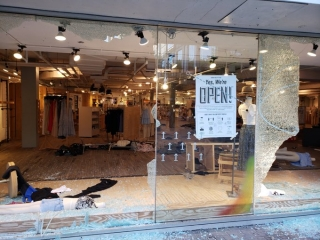 Store windows were smashed on State Street in downtown Madison early Saturday evening.