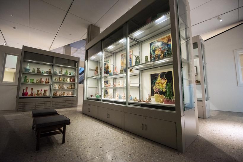 Glass encased art displays.