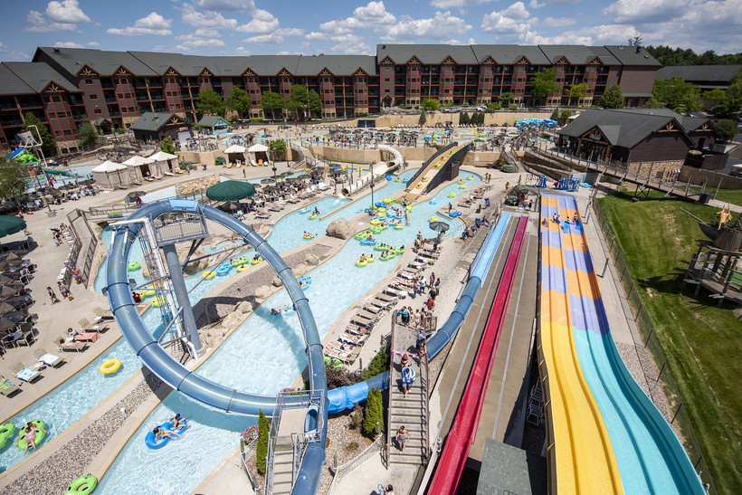 An outdoor waterpark is seen from above.