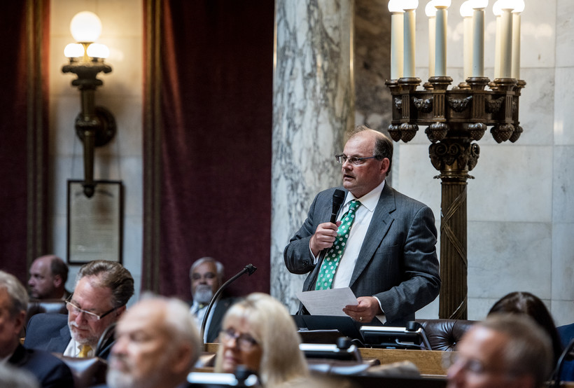 Rep. Michael Schraa speaks from the back of the chamber.