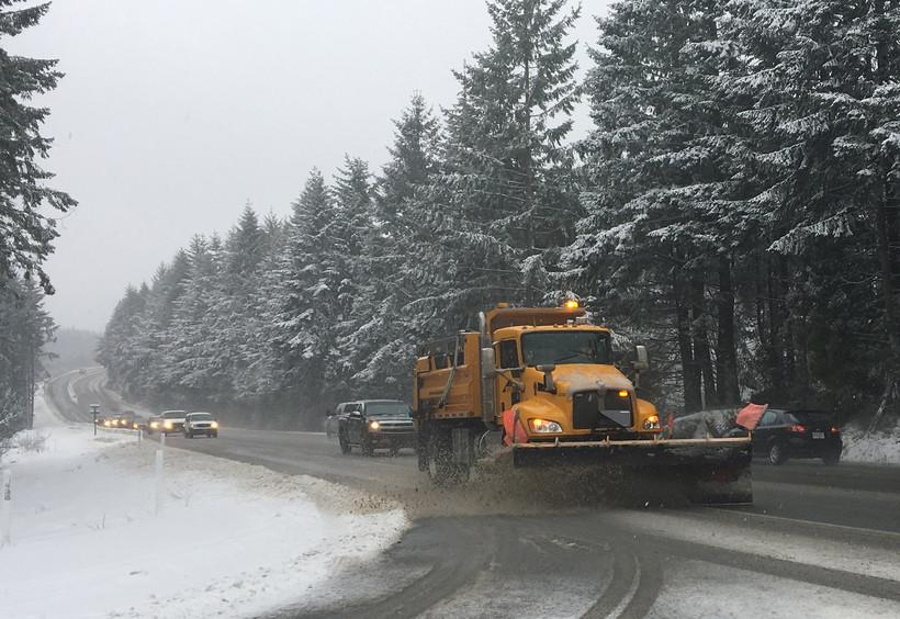 snow plow on highway