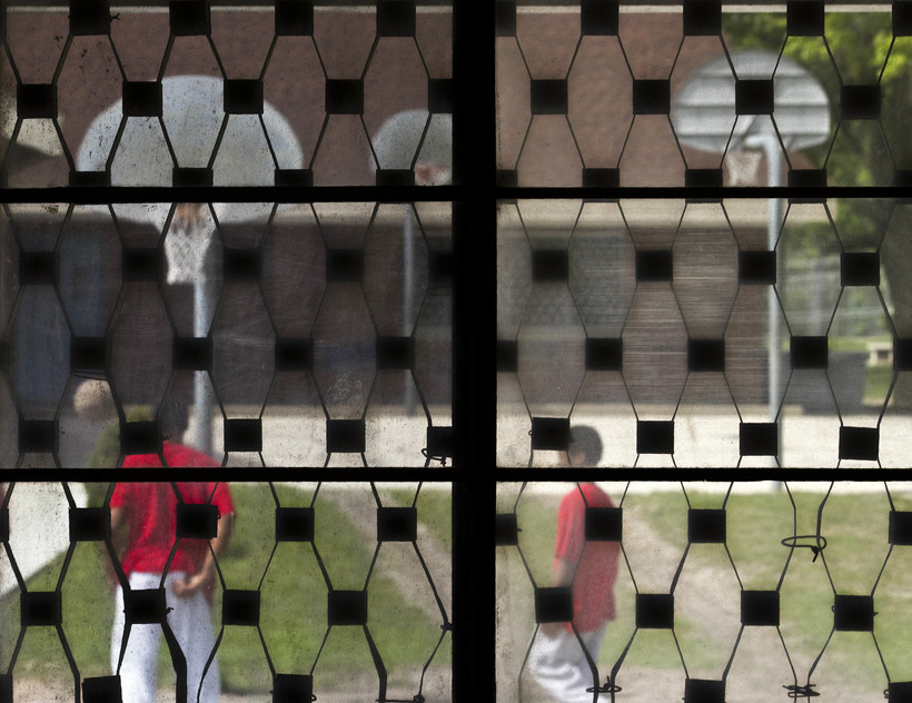 Prison yard basketball court