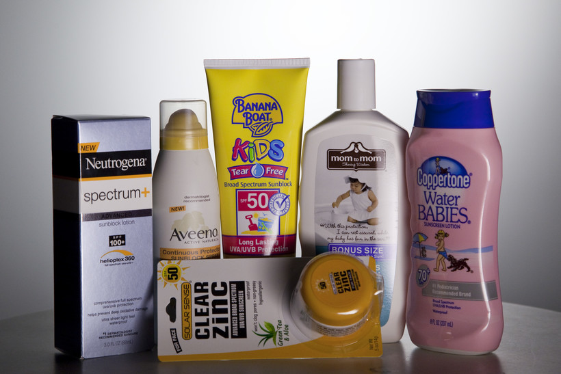 A variety of sunscreen bottles