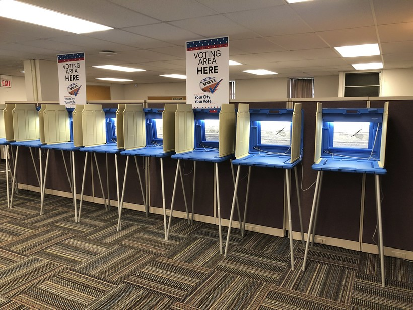 Voting booths in Minneapolis