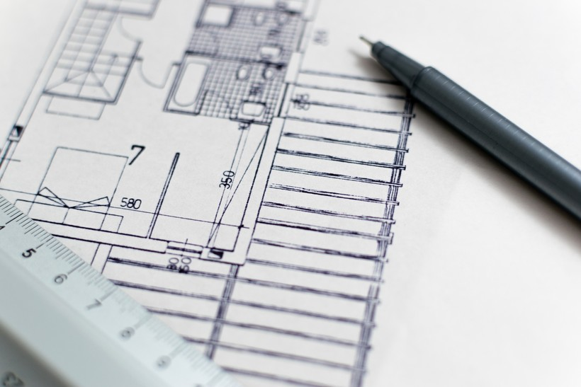 houseplans with scale and pen