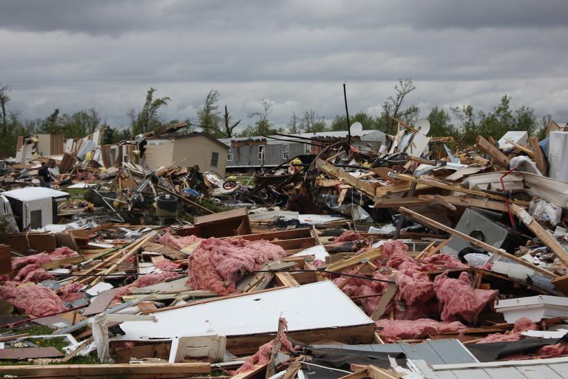 Tornado damage at the Prairie Lake Estates Mobile Home Park near Chetek