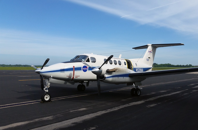 NASA research plane prepares for take-off at Truax Field in Madison