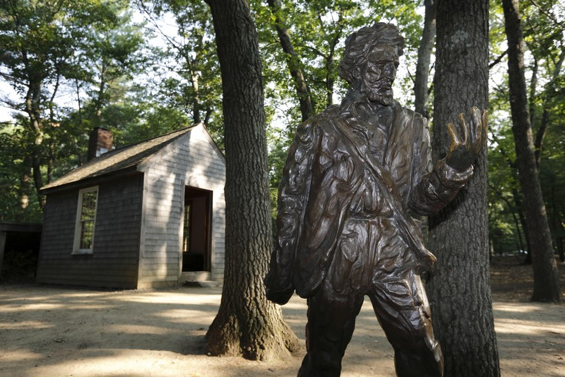 A statue of Henry David Thoreau