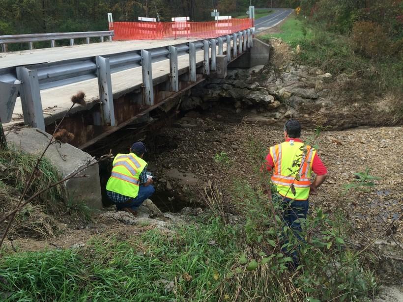 FEMA crew members inspecting 2016 flood damage in Vernon County