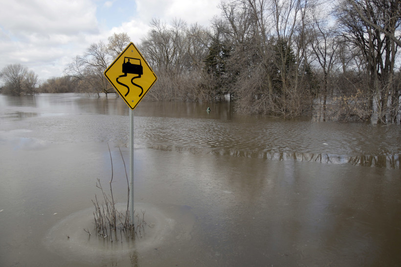Flooding and sign