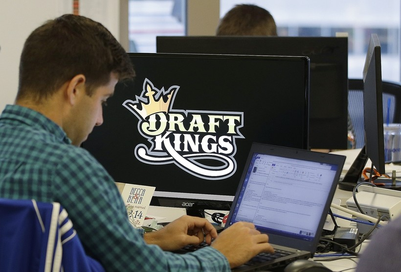 Computer screen with Draft Kings logo