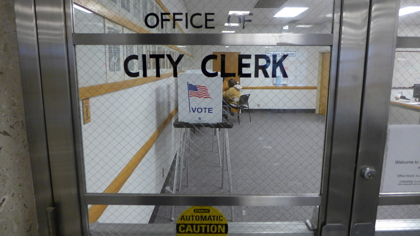Office of the Madison City Clerk, with voting booths