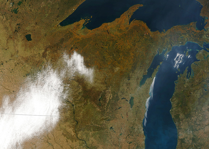 Satellite image of Wisconsin