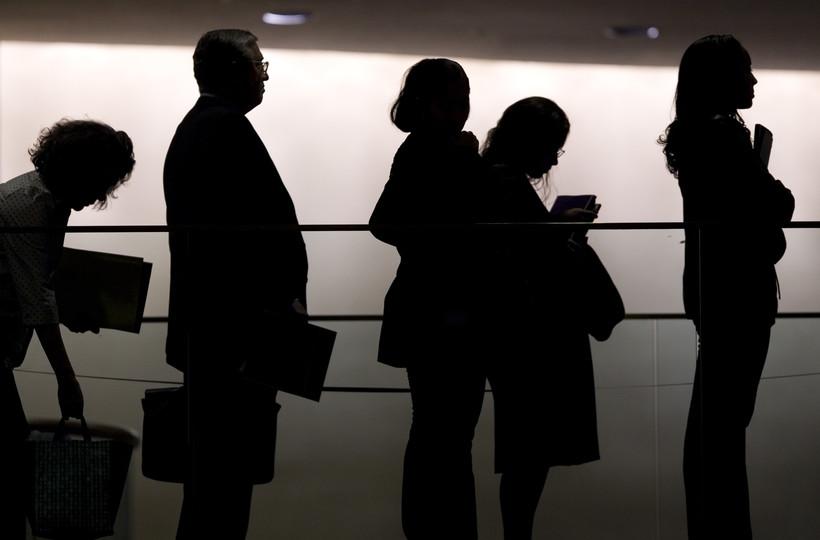 job seekers in line