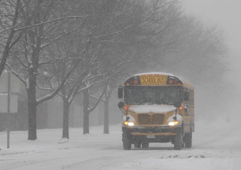 School bus in winter