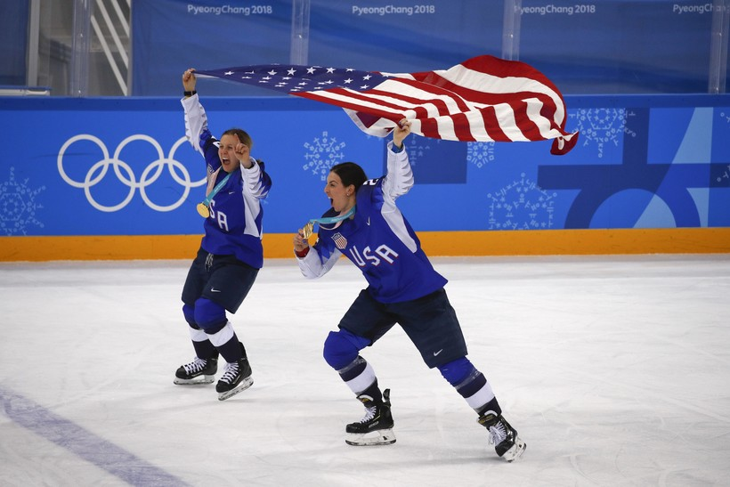 United States' Kendall Coyne and Hilary Knight