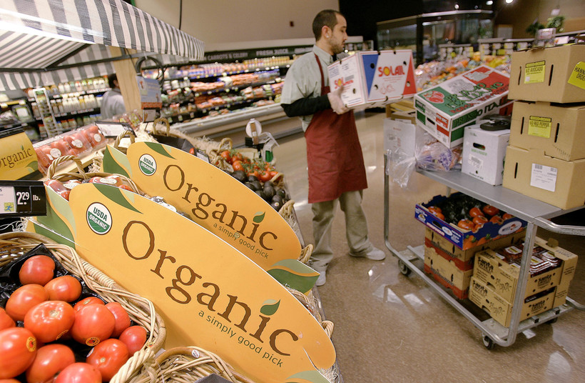 Organic produce at grocery store