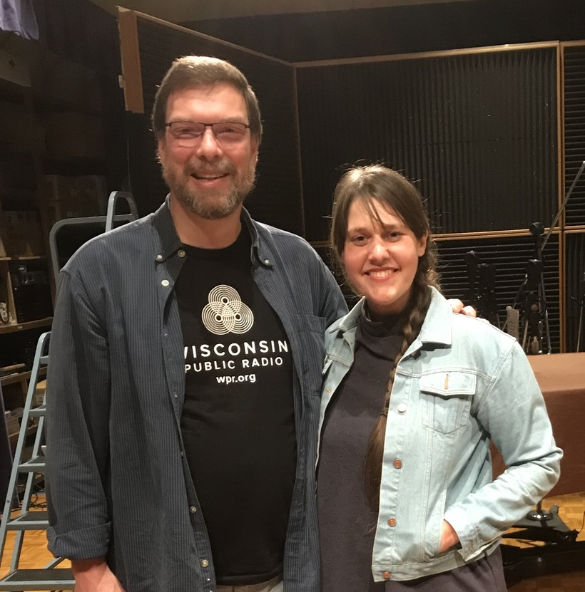 Kendra Swanson at WPR studio with Dan Robinson