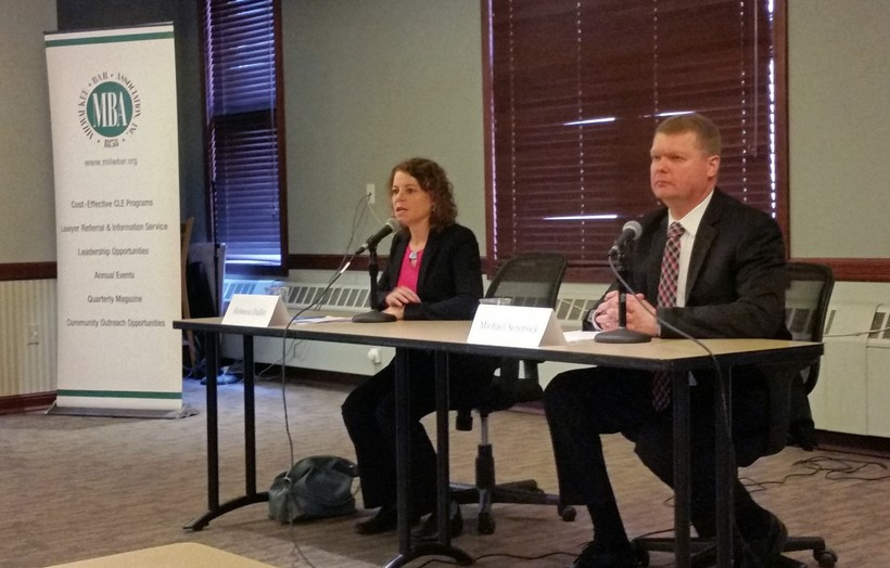 Wisconsin Supreme Court candidates Rebecca Dallet and Michael Screnock