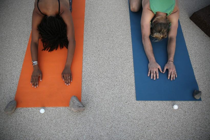 two yogis doing downward dog