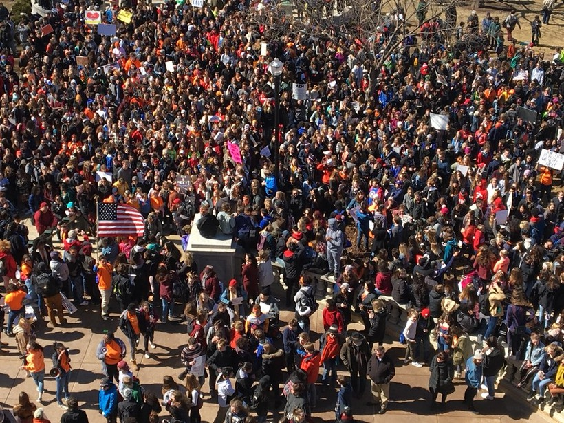 Students rally outside the state Capitol
