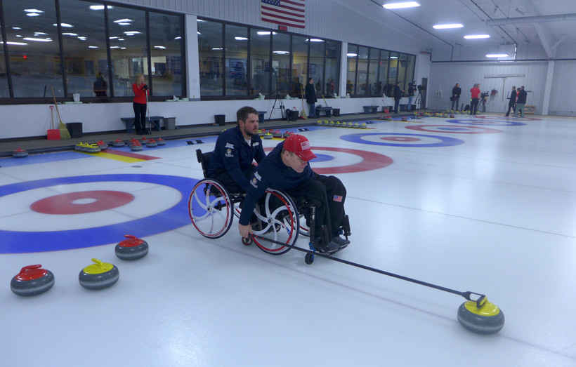 Justin Marshall and Kirk Black practice curling