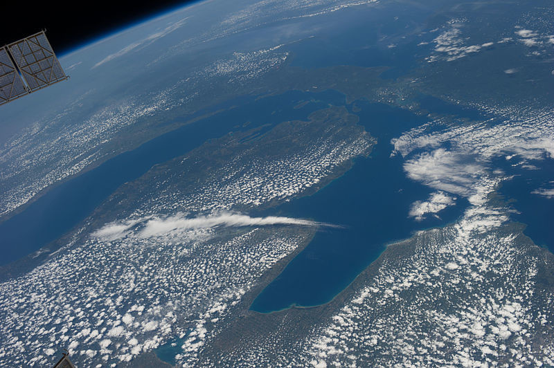 Lake Michigan and Lake Huron from space