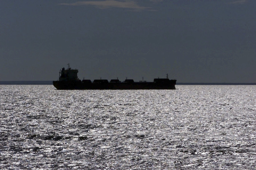 freighter silhouetted in Lake Superior